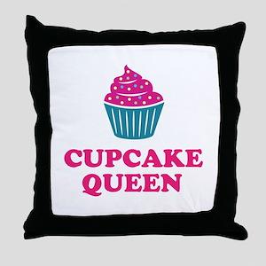 Cupcake baking queen Throw Pillow