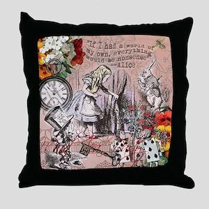 Alice in Wonderland Vintage Adventures Throw Pillo