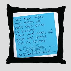 Grey's Anatomy: Sticky Note Throw Pillow