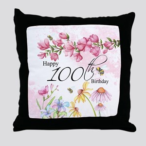 100th Birthday Watercolor Flower Throw Pillow
