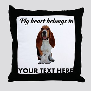 Personalized Basset Hound Throw Pillow