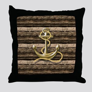 shabby chic vintage anchor Throw Pillow
