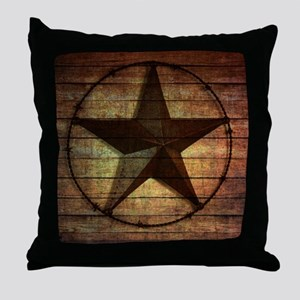 barn wood texas star Throw Pillow