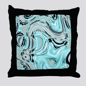 abstract turquoise swirls Throw Pillow