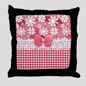 Pretty Pink Gingham Daisies Throw Pillow
