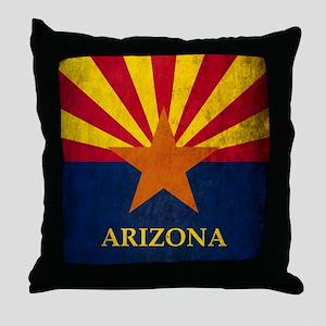 Grunge Arizona Flag Throw Pillow