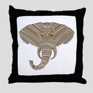 Silver Metallic Elephant Head Throw Pillow