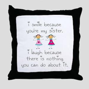 Sister Smile Throw Pillow