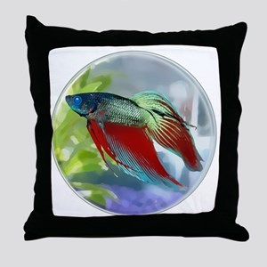 Colorful Betta Fish in a Bubble Throw Pillow
