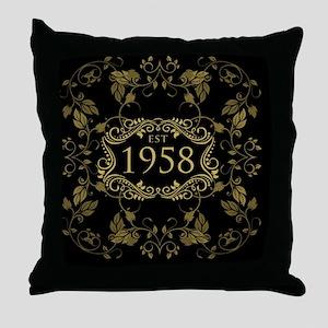 1958 Birth Year Throw Pillow