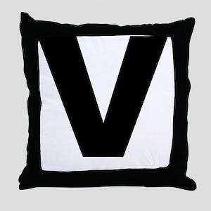 arial-black-black-v Throw Pillow