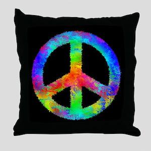 Abstract Rainbow Peace Sign Throw Pillow