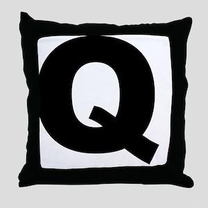 arial-black-black-q Throw Pillow