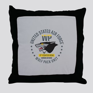 USAF Wolf Pack 8th Fighter Wing Throw Pillow