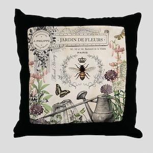 Modern Vintage French Bee Garden Throw Pillow