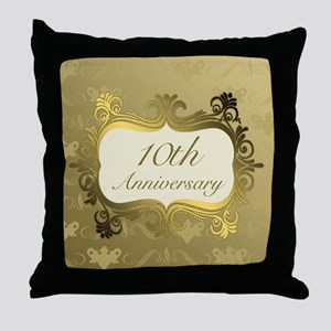 Fancy 10th Wedding Anniversary Throw Pillow