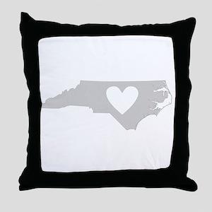 Heart North Carolina Throw Pillow