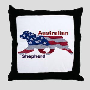 US Flag Aussie Throw Pillow