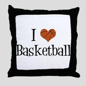 I Heart Basketball Throw Pillow