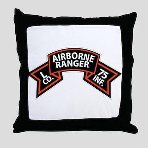 L Co 75th Infantry (Ranger) Scroll Throw Pillow