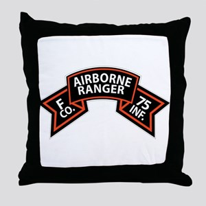 F Co 75th Infantry (Ranger) Scroll Throw Pillow