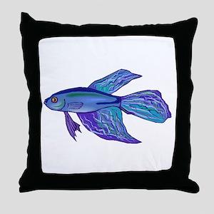 Blue Betta Fish Throw Pillow