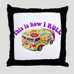 How I Roll (Hippie Van) Throw Pillow