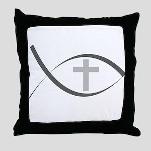 jesus fish_reverse Throw Pillow