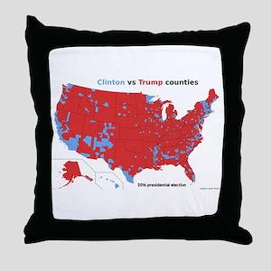 Trump vs Clinton Map Throw Pillow