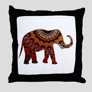 Yellow & Orange Metallic Elephant Throw Pillow