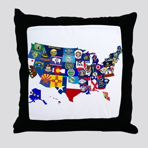 USA State Flags Map Throw Pillow