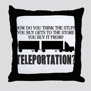 Teleportation Truck Driver Throw Pillow