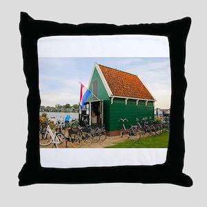 Bicycles, Dutch windmill village, Hol Throw Pillow