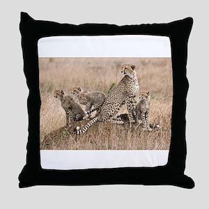 Cheetah Family Throw Pillow