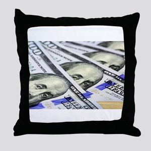 US Currency One Hundred Dollar Bill Throw Pillow