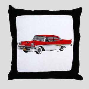 1958 Ford Fairlane 500 Red & White Throw Pillow