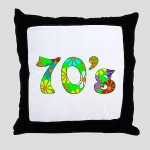 70's Flowers Throw Pillow
