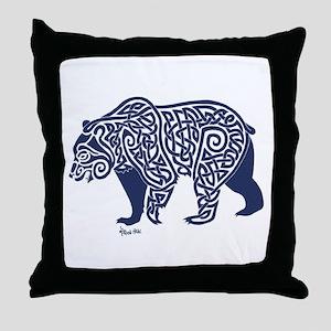 Bear Knotwork Blue Throw Pillow
