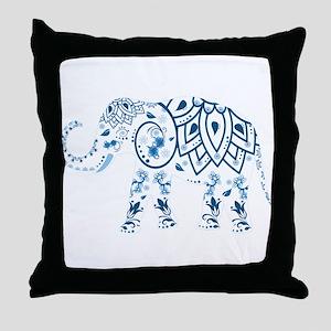 Blue Damask Elephant Throw Pillow