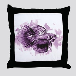 Purple Betta Fish Throw Pillow