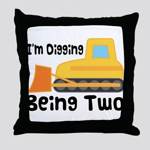 Personalized 2nd Birthday Bulldozer Throw Pillow