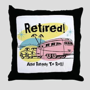 Retro Trailer Retired Throw Pillow