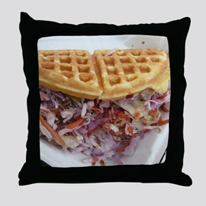 pulled pork waffle with coleslaw Throw Pillow