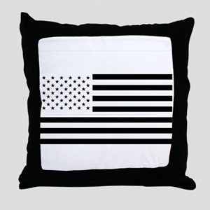 Black and White American Flag Throw Pillow