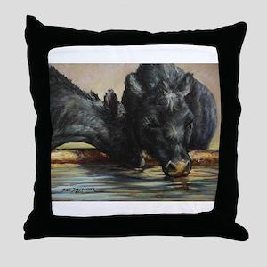 Two Black Angus Throw Pillow