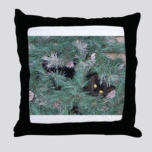 Black Cat in Christmas Tree Throw Pillow