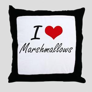 I Love Marshmallows Throw Pillow
