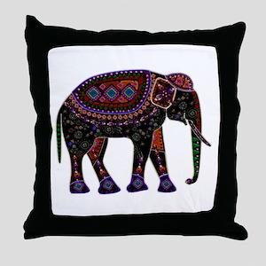 Tribal Metallic Elephant Throw Pillow