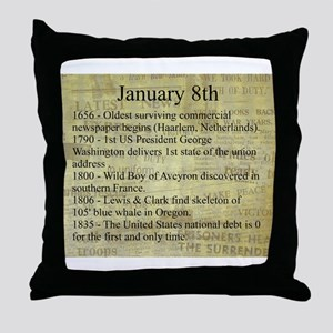 January 8th Throw Pillow