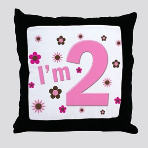 """""""I'm 2"""" Pink & Brown Flowers Throw Pillow"""